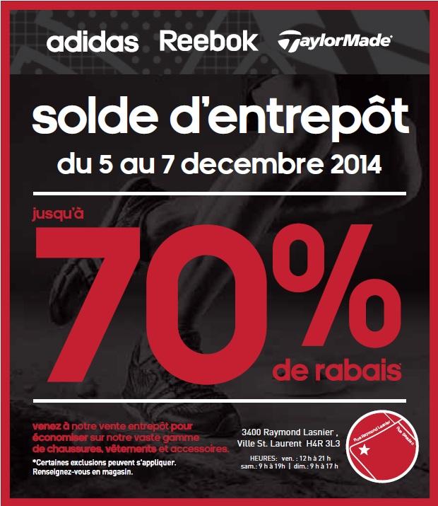 vente entrepot adidas montreal