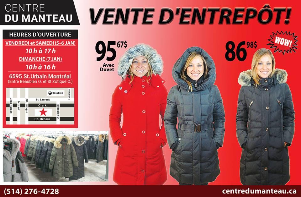 Vente de manteaux d'hiver montreal